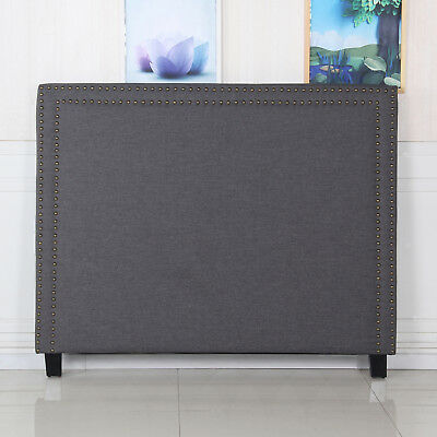 Bed Headboard Double Charcoal Grid Pattern Linen Fabric Upholstery CILANTRO