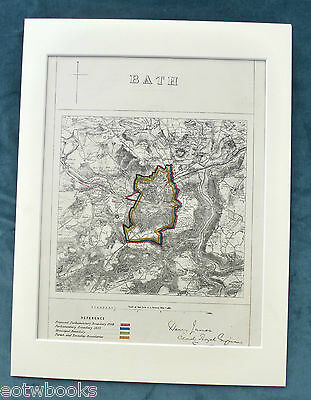 BATH - Antique Map / Plan, in mount,  Boundary Commissioners Report - 1868