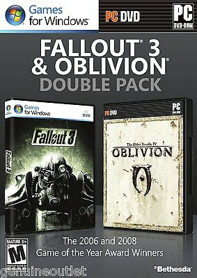 Fallout 3 and The Elder Scrolls IV Oblivion Double Pack for PC SEALED NEW
