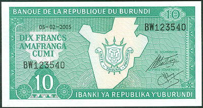 BURUNDI P 27   LOT 4 PCS  Uncirculated Banknotes 20  FRANCS  2005