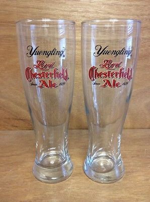Yuengling Brewery Lord Chesterfield Ale 16 oz. Pilsner Glass - New - Set of 2