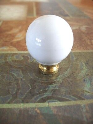 Vtg NOS WHITE Ball Porcelain Ceramic & Brass Cabinet Door Knobs Drawer Pulls