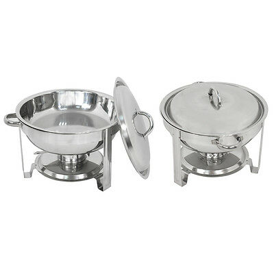 2 Pack Stainless Steel Cook and Home Round Chafing Dish Chafer with Lid 5 Quart