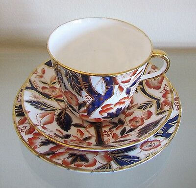 BLOOR DERBY BAMBOO PATTERN (Imari Pallet) TEA/COFFEE TRIO=c1830=EXTREMELY RARE!!