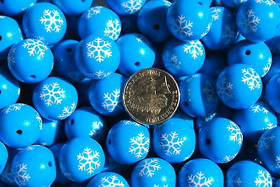 Bubblegum beads - Blue with snowflake - pk of 5 - jewellery bead necklace