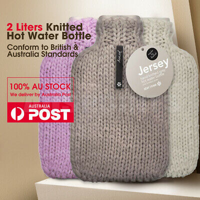 Jersey 2 Liter  Hot Water Rubber Bottle with Handmade Covers Winter Warm