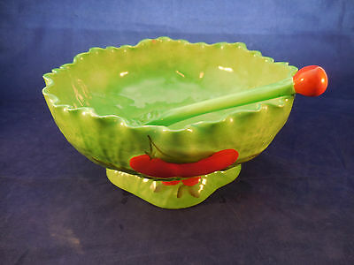 "Carlton Salad Bowl With Ceramic Fork 8"" Wide By 4 1/2"" High Tomato Design"