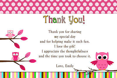 30 Thank You Card Notes Personalized Owl Birthday Party or Baby Shower Hot Pink