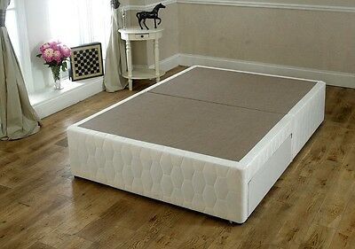 King size 5ft Damask Divan Bed Base-  white cotton Storage Options Available