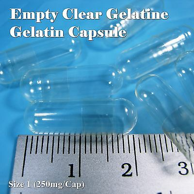 Empty Gelatin Capsule (CLEAR)  Size No.1 ( 250 mg) 100 - 1000 Caps