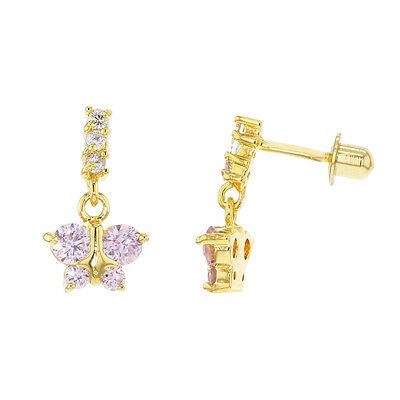 Pink Crystal Butterfly Screw Back Gold Filled 18k Dangling Earrings Girl Child's