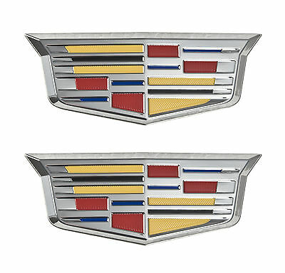 "Cadillac New Style Crest 4 3/4"" Adhesive Chrome Fender Grille Emblems Pair LH RH"