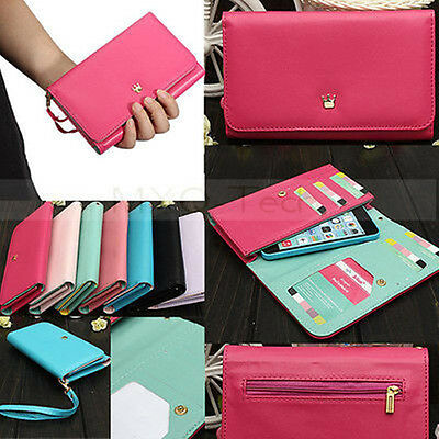 Envelope Zipper PU Leather Wallet Card Purse Case Cover For Various Cell Phones