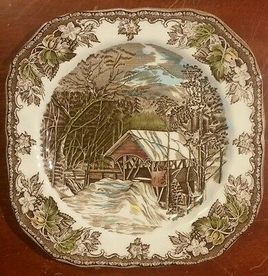 """Johnson Bros, The Covered Bridge,  7 1/2"""" Square Salad Plate, Made in England"""