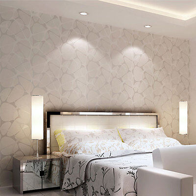Modern Simple 3D Background Wall Flocking Non-Woven Wallpaper Rolls Living Room