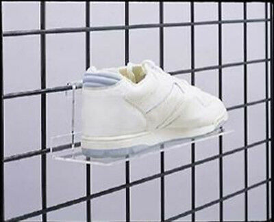 """Gridwall Grid Acrylic Shoe Shelves 10"""" x 4"""" Retail Display Fixture Lot of 24 NEW"""