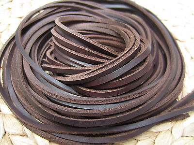 DARK BROWN LEATHER 3.5mm SQUARE SHOE / BOOTS LACES THONGS EXTRA  STRONG 120CM
