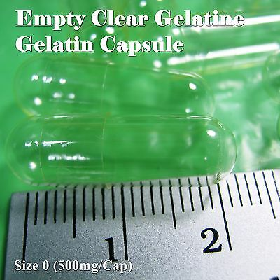 Empty Gelatin Capsule (CLEAR), Size No.0 (500 mg) 100-6,000 Caps.