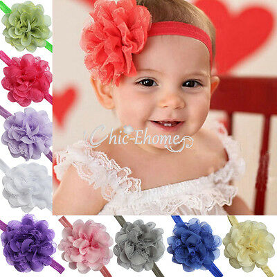 Lot 10pcs Lace Flower Kids Baby Girl Headband Hair Bow Band Headwear Accessories
