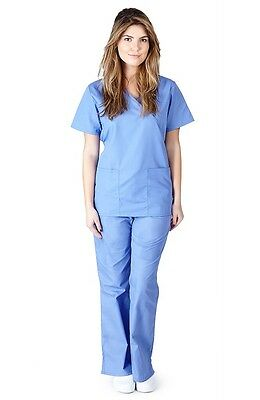Mock Wrap Scrub Set-Women Medical Nurse Scrub Top and Pants NEW MM001 Scrub Set
