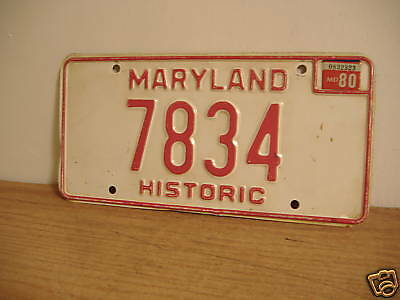 ~Maryland~Historic~7834~License Plate~1980 Sticker~