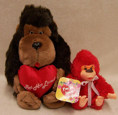 New Dakin Brown Gorilla Plush Toy w/ Heart & Red Baby Gorilla Toy Gift Lot of 2