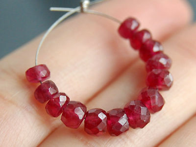 Natural Red Ruby Smooth Faceted Precious Gemstone Beads 4-5mm.