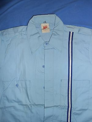 Vintage 1960s MECHANICS Uniform Shirt w/Racing Stripes Service Station Attendant