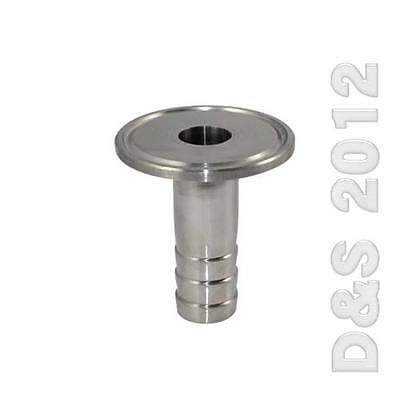 """1/2"""" 12MM Sanitary Hose Barb Pipe Fitting SS304 Tri Clamp Type 50.5MM Ferrule CH"""