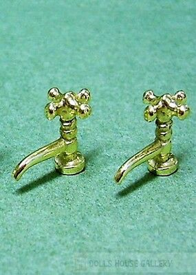 One Pair of Gold Coloured Taps, Doll House Miniatures, DIY Fixture Bathroom Tap