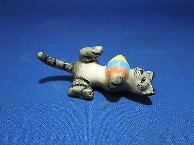 Vintage Miniature Figurine Striped Cat Playing with Ball Laying on Back