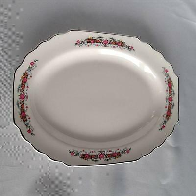Vtg W.S. George Lido White China Silver Trimmed Platter