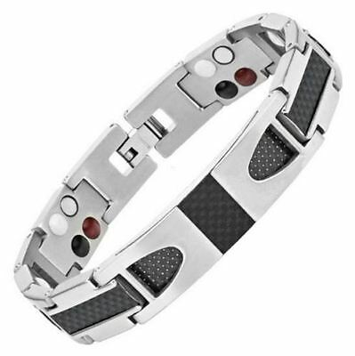 Mens 4in1 STRONG Titanium & Carbon Fibre Magnetic Bracelet ARTHRITIS PAIN RELIEF
