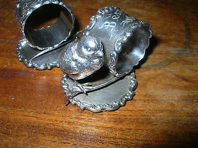2 x Antique silver/silverplate figural napkin ring/holder CHICK BIRD Wilcox 43**