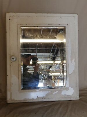 Vintage Industrial Recessed Medicine cabinet Beveled Mirror Old Cupboard 4375-15