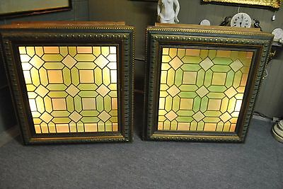Antique Stained Glass Window in Greens and Yellows Framed and Back Lit