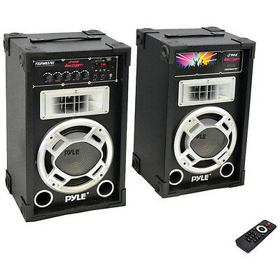 Pyle PSUFM837BT 800 Watt Disco Jam Powered Two-Way Pa Bluetooth Speakers, Pair