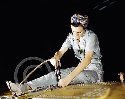 1943 Rosie Riveter Drilling Bomber Fort Worth Texas Photo