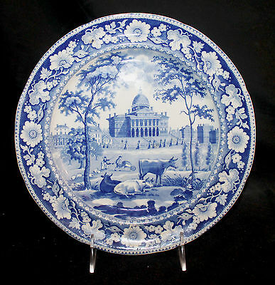 """Rogers & Son Plate 9 7/8"""" Boston State House c. 1814-25"""
