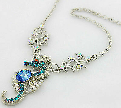 Betsey Johnson Blue Crystal Sea Horse Hippocampus Charming Necklace +Tag
