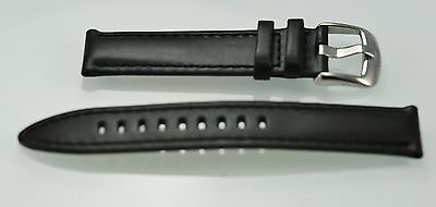 Columbia Mens Stainless Steel Black Leather Replacement Watch Band 20mm