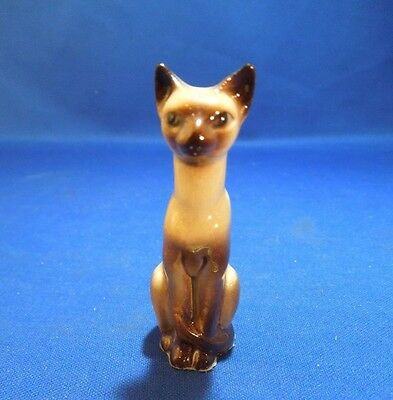 Vintage Hagen Renaker Mini Seated  Siamese Cat Miniature Figurine
