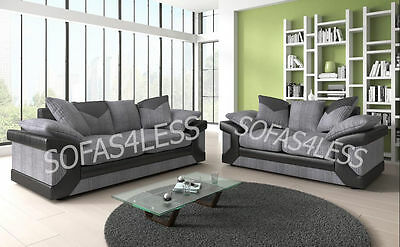 dino 3+2 seater sofa or corner & armchair in fabric + leather black grey brown