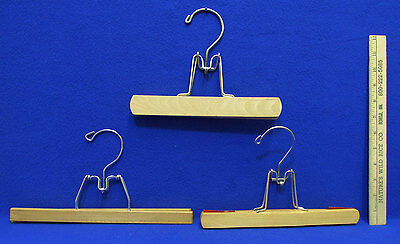 Vintage Wooden Clothes Hangers with Bale Hinge Closure Wood Hanger Lot of 3