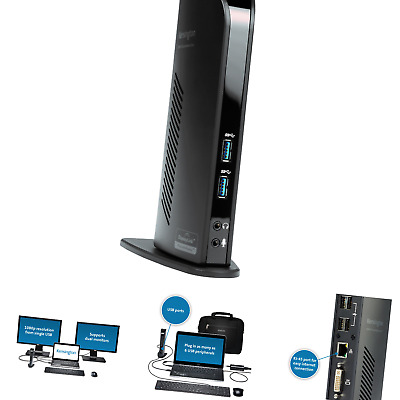 Kensington Sd3500v USB 3.0 Universal Docking Station w/Dual Video for Windows...