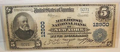 U. S. The Melrose National Bank of New York #12900 ($5 Bill) Currency