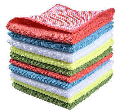 "Microfiber Dish Cloth Kitchen Cloths with Poly Scour Side 12""x12"""