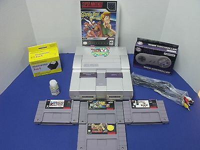 Super Nintendo System W/ 1 Controller/ 4 Games/ Scooby-Doo / Silver!!