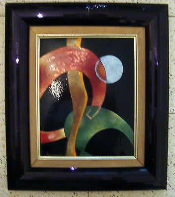 Vintage Framed Abstract Embossed Ceramics Painting Art Tile by Carl Koniuk USA