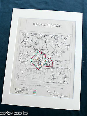 CHICHESTER - Antique Map / Plan, in mount,  Boundary Commissioners Report, 1868